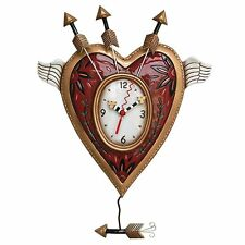 Allen Designs Wings of Love & Arrows Pendulum Child Kids Whimsical Wall Clock