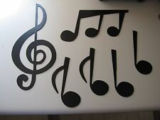 Music Notes Set Treble Clef & 5 Notes Metal Wall Art by HGWM Black