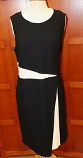 NEW St John Black White Knit Sleeveless Dress Sweater 16 XL L$1295 Wool Blend