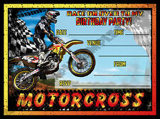 20 Motorcross / Motorbike / Speedway / Birthday Party Invite / Invitations