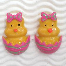"WHOLESALE- 20pc x 1.25"" for Easter Chicken Flick Duck Egg w/Bow Flatbacks SB586W"