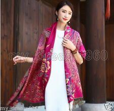 Fashion Women's 100% Silk Cotton Flower Cashmere Long Peacock Scarf Wrap Shawl