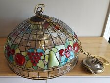 """Large 19 1/2"""" W Tiffany Style Acrylic Faux 'Fruits' Stained Glass Hanging Lamp"""