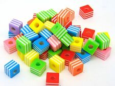 50 x 10mm Mix Colour & Style Resin Cube Beads Acrylic Craft Kids Jewellery N169
