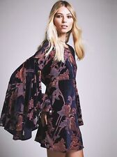 Free People Blue Floral Cocktails and Couture Bell Sleeves Mini Dress-L