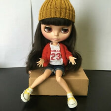 """12"""" Neo Blythe Doll Black Hair from Factory Special Body Nude Doll JSW07"""