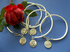 5 CT. LUNG CANCER  AWARENESS WHITE  LEATHER CHARM BRACELETS