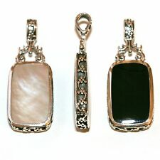 Black Onyx & Mother of Pearl MOP Reversible Sterling Silver Rectangular Pendant