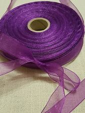 """Regal purple 1/2"""" sheer ribbon for wrapping packages, favors, decorate 20 yards"""