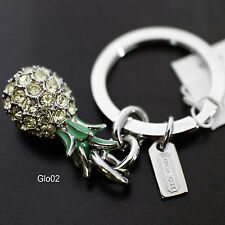 NWT COACH 3D Pave Crystal Good LUCK PINEAPPLE keychain Keyring KEY FOB NEW 92901