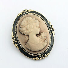 Women's Vintage Cameo Elegant Brooch Pin Antique Wedding Portrait Brooch Pin EV