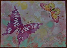 Fabric Placemat~Watercolor Butterfly~Purple~Pink~Yellow~Mint~Cottage~Garden~NEW