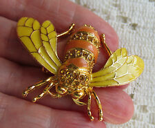 VINTAGE STYLE AUSTRIAN CRYSTAL AMBER GOLDTONE HONEY BEE BUG BROOCH PIN YELLOW