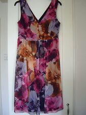 NEXT bright imprimer mousseline maille drapé devant robe taille 12 entièrement neuf sans étiquette