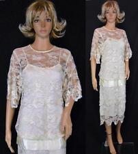 Vtg 80s Ivory Sheer Net Lace Drop Waist Gatsby Flapper Cocktail Wedding Dress