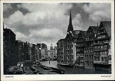 HAMBURG alte Postkarte um 1940 Boote Schiffe am Nikolaifleet Fleet Hafen