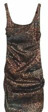 Nicole Miller Animal Leopard Silk Metallic Body Con Dress Formal Size 4 NWT
