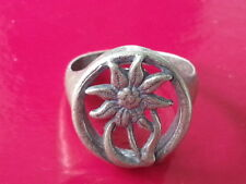 WW2 German Silver Edelweiss Mountain Division Ring