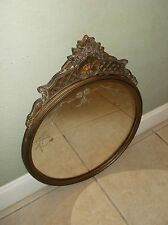 ANTIQUE EARLY 1900'S ETCHED GLASS SHELL, SCROLL AND ROSE MOTIF DECORATOR MIRROR