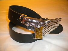 BRAND NEW  FASHION WESTERN SILVER BELT BUCKLE WITH A GUN WITH A BELT S-M-L-XL