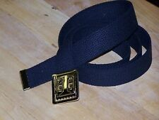 "Web Belt Military Style Buckle Uniform 100% Cotton for Marine Army Sport 54"" P38"