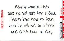 New CLING Deep Red Rubber Stamp Give a man a fish drink beer funny Free us ship