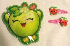 Shopkins Coin Purse with Little Girl Shopkins Barrets for Hair Zip Up Apple EUC