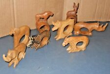 VINTAGE LOT OF 8 DECORATIVE WOODEN AFRICAN ANIMALS NAPKIN RING HOLDERS