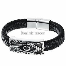 Charm Retro Free-Mason Stainless Steel Leather Magnetic Buckle Men's Bracelet