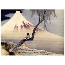 Boy in front of Mt. Fuji by Hokusai Deco FRIDGE MAGNET, Japanese Woodblock Print