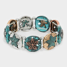 Sand Dollar Bracelet Stretch Bangle Starfish PATINA COPPER SeaLife Beach Jewelry