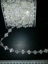1m pearl & Diamonte crystal cake decoration dance wedding ribbon mesh rhinestone