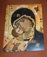 Großes Holzbild 46x60 cm Madonna mit Kind wunderschöne Farben fast wie Ikone