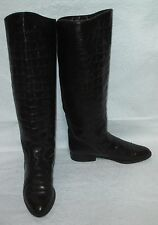 Women's Charles David Brown Leather Croc Print Riding Equestrian Boots 8 AA