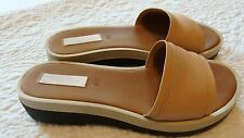 See By Chloe light tan beige wedge leather slides size 38
