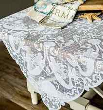 "Heritage Lace White MERMAIDS 42""x42"" Table Topper - Shells, Seahorses"