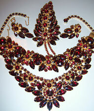 VTG JULIANA RED GARNET RHINESTONE NECKLACE BRACELET EARRING BROOCH GRAND PARURE