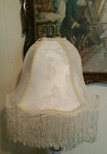 Vintage Style Victorian Lamp Shade Cream Tan Cording Scalloped Fringed