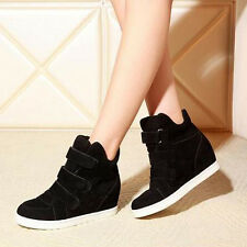 WOMEN'S FASHION HIDDEN WEDGE HEELS CASUAL SHOES INCREASED HIGH TOP SNEAKERS LOT