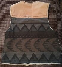 Fox Run Western Southwestern Native Aztec Sherpa Sleeveless Vest Jacket Medium