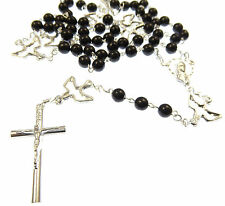 Catholic Silver black glass seven sorrows servite rosary beads holy dove spirit