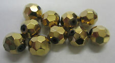 10 x Faceted Bronze Glass Mirror Round 10mm Beads For Beading & Jewellery TAR270