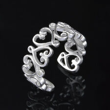 925 Silver Plated Hollow Filigree Flower Heart Adjustable Open Ring/Thumb Ring