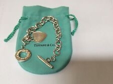 TIFFANY & CO. HEART CHARM TOGGLE BRACELET STERLING SILVER .925 VINTAGE AUTHENTIC