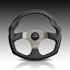 MOMO TOM CAT 350MM STEERING WHEEL UNIVERSAL BLACK LEATHER W/ SILVER SPOKES