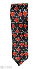 "Poker Red White Black Spades,Clubs,Diamond,Hearts Neck tie 56"" L x 2"" W-Neck Tie"