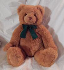 """18"""" Cute Big Gund Light Brown Soft Bear Plush Canada 1993 Vintage Rare Green Bow"""