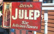 Vintage Julep Soda Pop Metal Embossed Sign W/ Bottle Graphic Lime Cola Orange
