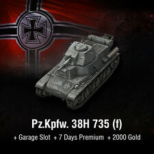 World of serbatoi | WoT | Codice Bonus | PZ. KPFW. 38h 735 (F) | MINI MOUSE | UE | PC