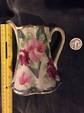 Nippon antique creamer rosees and gold trim - Moriage Maple Leaf Mark 1891-1921